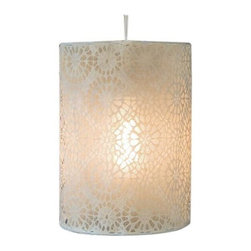 "Heritage Lace - Heritage Lace Nova Lamp Shade, Cafe - Nova Lamp Shades with circular motifs in an allover pattern gives this pendant lampshade design interest. Light from this lacy lampshade creates interesting light and shadow designs on adjacent walls. Includes 15-feet Round cord with thumb toggle. 60-watt maximum. Some assembly required. Instructions included. Not recommended for outdoor use. Made in the USA.    Round lamp shade available in 2 sizes: 10"" x 14"" round and 10"" x 36"" round    Square lamp shade measures 10"" x 10"" x 14""    Fine-gauge laceCare Instructions: Spot clean with a damp cloth"