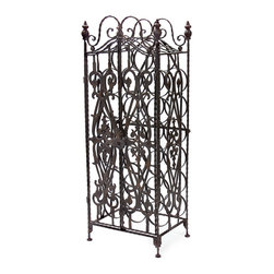 iMax - Wine Wrought Iron Cabinet - This wine Cabinet Stores Wine Bottles on their sides to perfectly preserve your ports and everyday wine indulgences. Its metal frame work and door add a sense of Tuscan style to the piece.