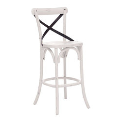 "Zuo - Zuo Union Square White Bar Chair - European style white cafe chair. Bar height chair. Versatile X-back design. Solid wood frame. Antiqued metal accents. A chic addition to your home from Zuo Modern. 18"" wide. 19 3/4"" deep. 44 1/2"" high. Seat is 17 3/4"" wide and 16 1/2"" deep. Seat is 30"" high. Fully assembled.  European style white cafe chair.  Bar height chair.  Versatile X-back design.  Solid wood frame.  Antiqued metal accents.  A chic addition to your home from Zuo Modern.  18"" wide.  19 3/4"" deep.  44 1/2"" high.  Seat is 17 3/4"" wide and 16 1/2"" deep.  Seat is 30"" high.  Fully assembled."