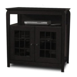 "Tech Craft - Veneto 32-Inch LCD TV Stand in Black Finish w - 32 in. Wide black ""Tall Boy"" fits most and smaller flat panels. Comes with one adjustable shelf. Perfect for living room or bedroom setting. Convenient component slot for easy access. Beautiful framed doors for concealed storage. Ample room for wire management. Storage area is 18.5 in. H. 32 in. W 20 in. D x 32 in. H"