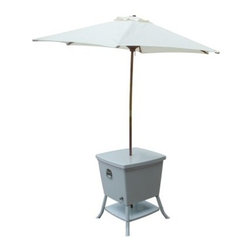 Leisure Season Cooler Table with Umbrella - The Leisure Season Cooler Table with Umbrella is the perfect recipe for staying cool outdoors. The umbrella provides shade while you and your guests cool off with your beverage or frozen novelty of choice. With the ample 100-quart cooler, the party stays outside, since you'll always have backups on hand.This outdoor furnishing features a base shelf for holding bottles, magazines, or table linens. The sturdy steel construction has a powder coated paint finish for rust-free durability and easy cleanup. Serve and store with this compact design to make the most of your outdoor space.About Leisure SeasonLeisure Season Ltd. is a premier manufacturer specializing in unique home and garden products. With more than 30 years of industry experience, they have established a high standard of workmanship at affordable prices. This is accomplished with smart design that you can depend on, creating attractive multifunctional pieces that will last. Quality design begins, of course, with quality materials. Part of the Cypress family, the China fir that is used to make Leisure Season's outdoor furniture, outdoor leisure products, and outdoor storage is noted for its rich grain, texture, and color as well as for its natural resistance to decay and insects. So whether your outdoor furnishings tend toward the rustic, the traditional, or the postmodern, these versatile pieces will reflect your good taste and will complement the look of your home and garden.