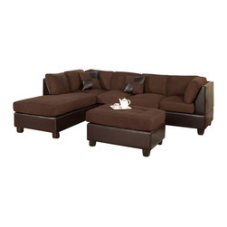 Poundex - Poundex F7615 Chocolate Leatherette & Microfiber Sectional Sofa - The Poundex F7615 sectional sofa has a simple modern look that works for any living room setting. This sectional comes in two different types of material that adds to the overall look. The base of the sectional comes wrapped in a beautiful dark brown leatherette material. The cushions comes upholstered in a ultra-soft chocolate microfiber fabric. High density foam is placed within the cushions for added comfort. Only hardwood products were used when crafting the sectional making it very durable. The two patterned accent pillows and matching ottoman shown come included. Attached to the bottom are brown finished wooden legs.