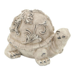 Benzara - Garden Turtle in Cream Colour with Vintage Finish - Beautify your outdoor setting with this Fiber Glass Garden Turtle. Unique and versatile in style, this Fiber Glass Garden Turtle is perfect for blending in with all kinds of outdoor settings thanks to its stylish and eye catching appeal. It features a distinctive design that can enhance the aesthetics of gardens and other outdoor areas with a simplistic yet appealing look. The turtle is crafted with fine detail work and exquisite styling that give it an attractive appearance. It has a cream colored, vintage finish that brings a dash of classic style to the overall design which can also accent the appearance of settings with ease. Made from fiber glass, this decorative garden accessory can endure long and harsh use, which ensures it is perfect for using outdoors..