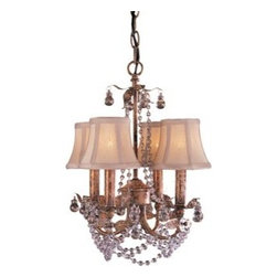 Crystal 4 Light Mini Chandelier - This adorable Four Light Mini Chandelier would be perfect for the powder room or as an accent light over a corner dresser or desk.  The crystals add a touch of glamor and elegance to this small chandelier.
