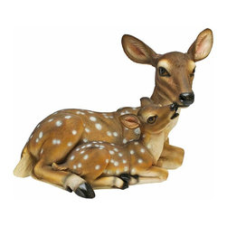 EttansPalace - Deer Mother and Baby Garden Sculpture - Lend natures exquisite beauty to your home or garden throughout the seasons with our deer statue. What's more beautiful and serene than the tender moments between a mother doe and her baby fawn? Realistically hand-painted with lifelike eyes that seem to bare their very souls, Our beautiful deer sculpture is cast of quality designer resin. Another quality garden animal sculpture from Toscano!