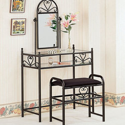 Coaster - 2432 2-Piece Vanity Set - Black heart shape vanity set with clear glass shelf.