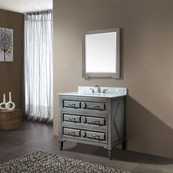AVANITY KELLY 36in. Bathroom Vanity - The Kelly Collecction features a soft grayish blue finish. The clean lines and transitional styling would compliment any bathroom. Hand-crafted out of solid poplar wood for durability, two dove tailed drawer boxes with soft close glides are finished with antique nickel door pulls.