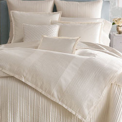 Horchow - Traditional Duvet Covers - Dress your bed in the understated elegance of creamy white cotton bed linens. Double-beam, woven dimensional yarn-dyed pleats are pieced vertically with solid sateen for the duvet covers, while the shams and breakfast pillow have horizontal pleats. Dry clean. Imported.Dust skirts have an 18 drop and inverted pleats on three sides. Diamond-pleated square pillow is made of silk. Channel stitching in a variety of widths creates texture on silk doupioni quilts in pearl (ivory); cotton reverse and polyester fill.To see the photo with each piece labeled,