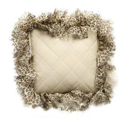 Brandy Renee Design - Ivory Faux Leather with Tiger Ruffle Pillow - This cute ivory quilted faux leather accent pillow with a silver cord edge and a tiger ruffle accent.