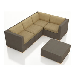 Harmonia Living - Element 5 Piece Modern Sling Sectional Set, Heather Beige Cushions - Modular furniture meets modern style in the Harmonia Living Element 5 Piece Patio Wicker Sofa Sectional Set with Tan Sunbrella cushions (SKU HL-ELE-5SECT-HB). Designed to be arranged in dozens of configurations, this outdoor sectional set is a practical choice for those who love to entertain outdoors and need more room than a standard patio sofa set. The brushed aluminum feet and bold clean lines give this set a modern look. The Textilene sling fabric has a Taupe finish and is designed to be both quick-drying and fade resistant.Few modern outdoor sectional sets offer this level of quality at such an affordable price.