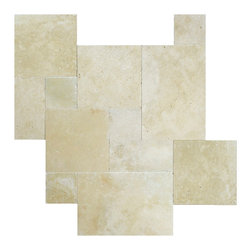 Ivory Tumbled Travertine French Pattern Paver - Travertine is the most suitable product for outdoor floor applications.