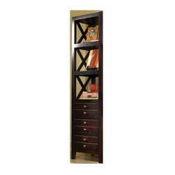 Lifestyle California - Chatsworth Left Audio Pier Cabinet w 3 Shelves in Merlot Finish - Abundant storage and display space comes standard with this exclusive Chatsworth collection cabinet. Left side tower has X style sides and lower drawers to keep your media handsomely tucked from view. Wood and veneer cabinet impresses with rich merlot finish. Made from Wood and Birch Veneers. Storage compartments. 22 in. W x 17 in. D x 78 in. H (89 lbs.)