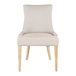 Safavieh - Meryl Chair - The Meryl Chair features a dressing elegance without being stuffy, so its a perfect companion for country homes, city apartments or formal manors. The two-toned Meryl Chair, with taupe linen on the interior and jute on the exterior, features a high back, sloped arms, legs in a white washed finish and exposed flat-black nail heads.