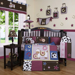 """Geenny - Boutique Western Cowgirl 13 Piece Crib Bedding Set - This listing is for a 13 piece beautiful Geenny brand new crib set with all the bundle you will need. This set is made to fit all standard cribs and toddler beds. The whole set comes with 10 pieces plus 3 new wall art decor hangings, which comes out as a total 13 piece bundle. The set is made by Geenny Designs, well known as Nursery Series Products Designs. All bundled pieces are in a brand new zippered, handled carrying bag. Dress up and decorate your baby's room with this beautiful 13 piece crib bedding set. Features: -Set includes: Crib quilt, two valances, skirt, crib sheet, bumper, diaper stacker, toy bag, two pillows, three wall hangings. -Material: 65 / 35 Percent of Polyester / Cotton. -Crib quilt: 45"""" H x 36"""" W. -Crib bumper: 10"""" W x 158"""" D. -Fitted crib sheet: 52"""" H x 28"""" W. -Window valances: 16"""" H x 58"""" W. -Crib skirt: 28"""" H x 52"""" W. -Toy bag: 20"""" H x 14"""" W. -Decorative accent pillows: 10"""" H x 10"""" W. -Machine washable."""