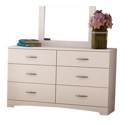 South Shore - South Shore Maddox 6 Drawer Double Dresser in Pure White Finish - South Shore - Dressers - 3160010 - The Maddox Double Dresser is constructed from laminated particle board with a pure white finish. This double dresser features six large drawers for ample storage. It has Smart Glide drawer slides for a smooth gliding motion and metal handles for easy access to your belongings. The simple, yet elegant Maddox Double Dresser offers a lasting appeal you will enjoy for many years.