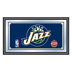 Trademark Global - Utah Jazz NBA Framed Logo Mirror - Officially Licensed Full Color Artwork. Mirrored Glass Accents Team Logo. 1.25 Inch Black Wrapped Wood Frame. Includes Mounted Saw Tooth Hanger. Measures .75 (D) x 27 (W) x 15 (H) InchesReflect on the memories of your favorite team with this officially licensed framed logo mirror. Authentic artwork is preserved under mirrored glass then bound by a black wrapped wood frame.  Post up your passion for the game while assisting your room's appearance with this professional grade logo mirror.