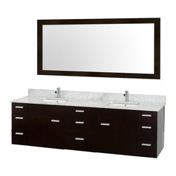 "Wyndham Collection - Wyndham Collection 78"" Encore Espresso Double Vanity w/ Undermount Square Sink - Featured in the CG Collection by Christopher Grubb, the Encore 78"" Double Bathroom Vanity combines clean modern design, natural solid marble, and the open spacious feeling of a wall-mount double vanity. Nine drawers and two large doors are all built with soft-close hinges and slides and provide abundant storage. Choose of counters counters to match your style. This vanity can be mounted to your perfect height because of the variable wall-mount design. And finally, the included large single Accara Mirror makes an appealing set."
