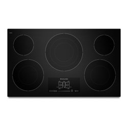 """KitchenAid - KECC667BBL 36"""" Smoothtop Electric Cooktop With 5 Radiant Elements  Even-Heat Tec - This 36-inch electric cooktop features innovative Even-Heat Technology Each element is designed to deliver heat evenly to avoid hot and cool spots and provide exceptional simmering and melting Youll also enjoy impeccable style with touch-activated el..."""