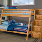 Coaster - Wrangle Hill Twin/Full Bunk Bed With Stairway Chest - Twin/Full Loft with solid pine construction offers durability, while full length guard rails provide safety and a built-in ladder allows for easy access to the top twin bunk. The relaxed features will blend perfectly with any casual decor and will create a refreshing look in any children's bedroom.