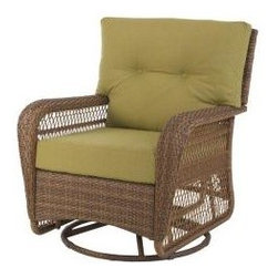 Charlottetown 2012 Brown All-Weather Wicker Patio Swivel Rocker - They swivel, they rock and they are über comfortable. For a traditional or country estate, these chairs are ideal for lounging while reading the morning newspaper or enjoying an evening chat.