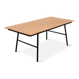 Gus - School Table, Natural Oak - The School Table is an elegant and functional design with a no-nonsense, utilitarian aesthetic. The black, powder-coated steel legs are slightly splayed for stability and style. The exposed ply top is available in walnut or natural oak finish. This table pairs perfectly with our School Chairs.
