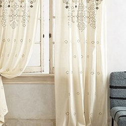 """Anthropologie - Sequined Curtain - Tunnel tab constructionCotton, rayon velvetDry clean50""""WImported"""