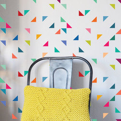 The Lovely Wall Co - Rainbow Triangles - Wall Decal - Please note that metallic vinyl is not reusable.