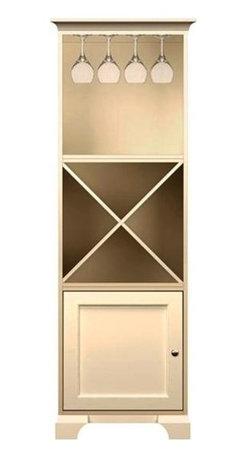 Howard Miller Custom - Lily Cabinet w 1 Door in Antique Vanilla - This cabinet is finished in Antique Vanilla on select Hardwoods and Veneers, with Nickel hardware. 1 door with inset panel. 1 storage shelf. 1 adjustable interior shelf and 1 stemware rack. Cove profile top and cove profile base. Hardware: Nickel knob on door. Features soft-close doors and metal shelf clips. 27 1/4 in. W x 17 in. D x 78 1/2 in. H