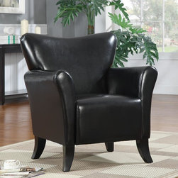 Coaster - Black Casual Accent Chair - Beautifully designed and crafted to endure, these accent chairs come in three color options. Upholstered in a durable, leather-like vinyl and black finished legs.