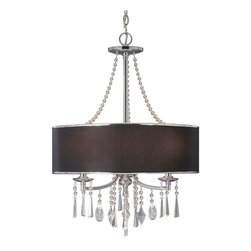 Golden Lighting - Echelon GRM 3-Light Pendant - Bulbs not included. Requires three incandescent type B 60 watt candelabra base bulbs. Three E12 sockets. Total wattage: 180. Electric wire gauge: SPT-1.20288 18AWG 105 degree C. Transitional style. Geometric shaped sparkling beaded crystal drops. Bridal veil fabric shade. UL listed for dry location. Polished chrome color. Wire length: 10 ft.. Chain length: 6 ft.. Canopy extension: 1 in.. Canopy: 5 in. Dia.. Shade: 21 in. Dia. x 7 in. H. Overall: 21 in. Dia. x 32 in. H (7.48 lbs.). Warranty. Assembly Instructions