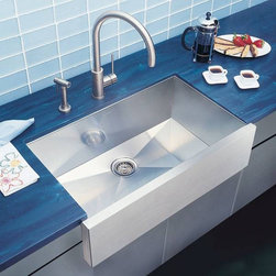 Blanco Precision Super Single Bowl Stainless Steel Sink - If you want the look of a farm sink, but prefer the forgiving nature of stainless steel (dropped dishes don't chip quite as much) or the modern style of it...then this apron front stainless sink from Blanco is perfect. Also comes with a towel bar option and a double bowl option.