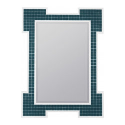 """Cooper Classics - Marguerita Set of 4 Silver Square Mirrors - Turquoise Finish with High Gloss White Frame; Beveled Mirror Frame Dimensions: 30""""W X 40""""H; Finish: Turquoise with High Gloss White Frame; Material: Polyurethane and Glass Tiles; Beveled: Yes; Shape: Rectangular; Included: Brackets, Ready to Hang Vertically or Horizontally"""