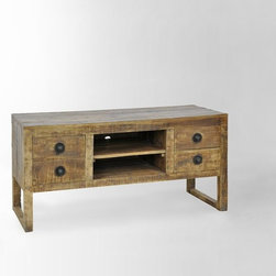 "Hewn Wood Media Console - Choose a media console with both open and closed storage. Hide the movies and other ""stuff"" in the drawers."