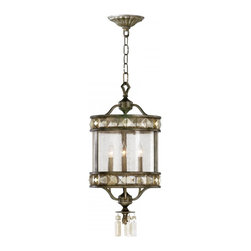 Joshua Marshal - Three Light St. Regis Bronze Water Glass Framed Glass Foyer Hall Fixture - Three Light St. Regis Bronze Water Glass Framed Glass Foyer Hall Fixture