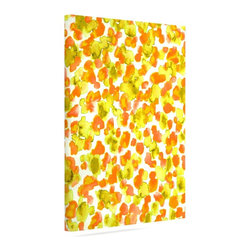 """Kess InHouse - Ebi Emporium """"Giraffe Spots - Orange"""" Orange Yellow Wrapped Art Canvas (12"""" x 10 - Bring your outdoor patio to life with this artistic outdoor canvas wrap featuring gorgeous artwork by KESS InHouse. These canvases are not only easy to hang and remove but also are the perfect addition to your patio collection. These canvases are stretched around a wooden frame and are built to withstand the elements and still look artistically fabulous. Decorating your patio and walls with these prints will add the splash of art and color that is needed to bring your patio collection together! With so many size options and artwork to choose from, there is no way to go wrong with these KESS Canvas Wraps!"""