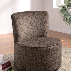 Coaster - Brown Contemporary Accent Chair - Bring some enthusiasm into a living or bedrrom with these fun and energetic round swivel chairs! Features include three different hip patterns with a frame constructed of poplar harwood. The high density foam padding makes this chair very comfortable to lounge in!Swirly Fun- The most subtle of all patterns featured on this page for those with simple design aesthetic. The dark backround color is very easy to keep clean.