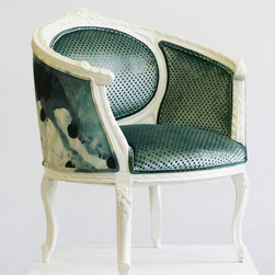 """Chairs - """"Paloma"""" is a vintage chair that has been upholstered using old world techniques such as 8 -way-hand-tied coil springs, horsehair, and all natural cotton. Photo by Wild Chairy"""