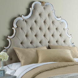 'Bristol' Tufted Headboard - Look at how intricate that headboard is! I love the silver frame on this one.