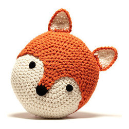 "Peanut Butter Dynamite - Crochet Acrylic Fox Pillow - Cody the fox is one of Peanut Butter Dynamite's hand crafted crochet pillows. This fellow woodland creature can be found highlighting one's rocking chair or accentuating one's favorite bedding. Where ever he may be, Cody the fox is sure to make a statement. Features: -Color: Pumpkin Orange, Cream and a dash of Black. -Material: Acrylic Yarn with Poly fill. -100% Handmade. Dimensions: -13"" H x 13"" W x 5"" D, 1 lb."