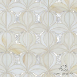 Calla - Miraflores - Calla, a jewel glass waterjet mosaic shown in Quartz and Shell, is part of the Miraflores Collection by Paul Schatz for New Ravenna Mosaics.