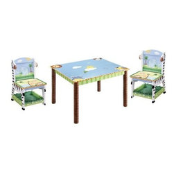 Teamson Design Sunny Safari Table and Chairs Set - Your little one will love to sit and get wildly creative with the Teamson Design Sunny Safari Table and Chairs Set. This set includes a table and two matching chairs. Each piece is made solid wood with a hand-painted safari theme in bright colors. The fun zebra chairs feature a lower storage shelf for coloring items, paper, or books. The table is spacious enough for kids to make art, play games, or enjoy tasty snacks.About Teamson DesignBased in Edgewood, N.Y., Teamson Design Corporation is a wholesale gift and furniture company that specializes in handmade and hand-painted kid-themed furniture collections and occasional home accents. In business since 1997, Teamson continues to inspire homes with creative and colorful furniture.