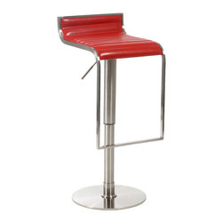 Eurostyle - Forest Bar/Counter Stool-Red - A modern take on natural beauty. This dramatic stool evokes a graceful waterfall. You can see how the subtle backrest flows into the seating area, which then drops slightly over the edge toward the footrest.