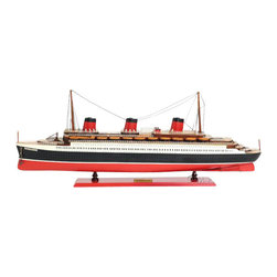 Old Modern Handicrafts - Old Modern Handicraft Normandie Painted - The T.S.S. NORMANDIE was one of the finest ocean liners ever produced by France. Have it displayed beautifully in your home or office! Master craftsmen handcraft these highly detailed wood models from scratch using historical photographs, drawings and original plan. They are built to scale with high-grade wood such as: western red cedar, rosewood, and mahogany. They are 100% hand built individually using plank-on-frame construction method and are similar to the building of actual ships. Each model requires hundreds of hours to finish and must go through a demanding quality control process before leaving the workshop. The model comes with the mast down to save on shipping cost. Hundreds of detailed pieces went into the construction of this model. There are multiple wood decks. You can see hundreds of open windows along the hull. Layers of stanchions with guardrails are placed all around the deck. Three magnificent smoke stacks with chimneys are carefully painted in red and black. Dozens of wooden lifeboats are all meticulously hand built according to scale. This model is part of an exclusive edition with a unique laser cut serial number located behind the brass nameplate. It'll make a perfect gift for home or office decorator, boat enthusiast, or passionate collector.