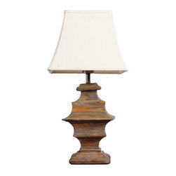 ParrotUncle - Traditional Wooden Carved Urn Table Lamp With Square Bell Shade - Handmade solid wood with modern concise style,suitable for interior decoration,can be assembled in bedroom,rest room,dining room,office etc.