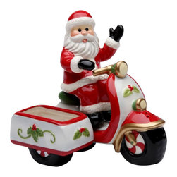 Cosmos - Santa Riding Scooter Salt and Pepper Shaker with Sugar Pack Holder - This gorgeous Santa Riding Scooter Salt and Pepper Shaker with Sugar Pack Holder has the finest details and highest quality you will find anywhere! Santa Riding Scooter Salt and Pepper Shaker with Sugar Pack Holder is truly remarkable.
