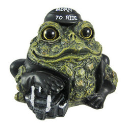 Toad Hollow Biker Frog Statue Born To Ride Motorcycle - The Toads Of Toad Hollow are a collection of statues that add whimsy and imagination to your home. This biker toad was truly Born To Ride. He wears a black leather jacket, leather pants, black do-rag and has his front leg resting on a saddlebag. He even has a chain wallet in his back pocket. The back of his leather jacket reads `Toad Hollow Cycle Works`. Made of cold cast resin, the toad measures 5 inches tall, 5 1/2 inches wide and 4 inches deep. He`s hand-painted, and shows great detail. He makes a wonderful gift for any frog lover or biker.