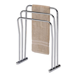 None - Chrome Finish Metal Towel Bathroom Quilt 3-Bar Rack Stand - This towel and quilt rack features three metal bars to store your bathroom towels or extra blankets. Crafted of metal with a chrome finish,this hanging rack will make an alluring addition to any home decor.