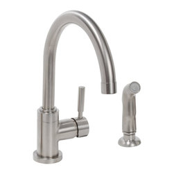 Premier - Essen Lead-Single-Handle High-Arc Kitchen Faucet - Brushed Nickel - Essen offers the convenience of a single-handle kitchen faucet with the modern appeal of a high-arc spout. Choose this Essen kitchen faucet to add an aura of sleek sophistication to your kitchen. This high arc, single-handle kitchen faucet includes an optional finish-matched deck plate so it can be installed on a variety of kitchen sinks. Its single metal lever handle offers precise volume and temperature control. This faucet features a high-arc spout, a matching sprayer, lead-free brass construction, and ceramic disc technology. It provides a powerful flow rate of 2.2 gpm. This faucet is featured in a durable PVD brushed nickel finish. Premier's physical vapor deposition (PVD) process creates a brushed nickel finish that is exceptionally durable and resistant to scratching, tarnishing, corrosion, and discoloration.