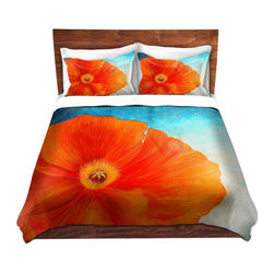 DiaNoche Designs - Duvet Cover Twill - Poppy - Lightweight and soft brushed twill Duvet Cover sizes Twin, Queen, King.  SHAMS NOT INCLUDED.  This duvet is designed to wash upon arrival for maximum softness.   Each duvet starts by looming the fabric and cutting to the size ordered.  The Image is printed and your Duvet Cover is meticulously sewn together with ties in each corner and a concealed zip closure.  All in the USA!!  Poly top with a Cotton Poly underside.  Dye Sublimation printing permanently adheres the ink to the material for long life and durability. Printed top, cream colored bottom, Machine Washable, Product may vary slightly from image.