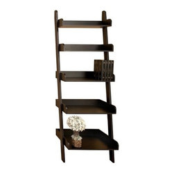 """Benzara - Black Leaning Ladder Wood Display Shelf 76"""" x 30"""" - Black Leaning Ladder Wood Display Shelf 76"""" x 30"""". Made from solid MDF hard wood display shelf is great for any room in the home or office. Dimension: 76 inch H x 30 inch. Shelf."""